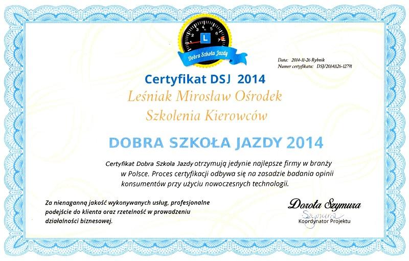 Certyfikat Leśniak